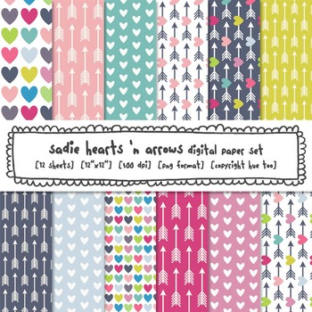 Valentine's Day Hearts and Arrows Digital Paper Set, for T