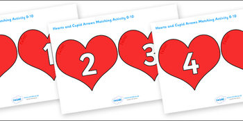 Valentine's Day Hearts and Cupid Arrows Matching Activity (0-10)