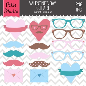 Valentine's Day Hipster Hearts, Mustaches, and Glasses Cli