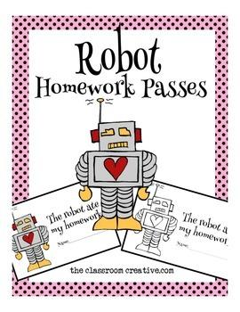 Valentine's Day Homework Passes: Robot Theme