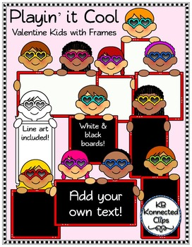 Valentine's Day Kids with Blackboards and Whiteboards