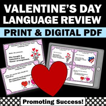 Valentine's Day Task Cards Literacy Centers Grammar Parts