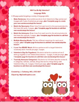 Valentine's Day ~ Language Skills!