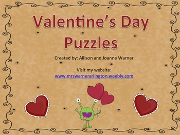 Valentine's Day Letter and Number Puzzles