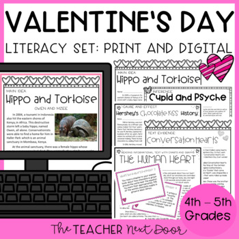Valentine's Day Literacy Set for 4th - 5th Grade