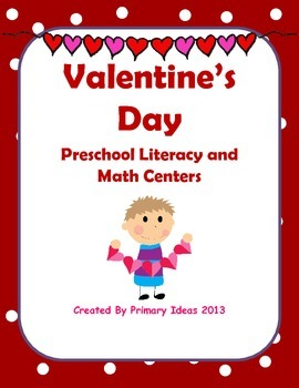 Preschool Valentine's Day Literacy and Math Centers