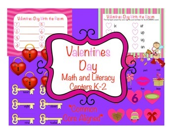 Valentines Day Literacy and Math Centres, Common Core Alig