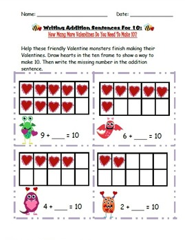 Valentine's Day (Making 10 Math Activity and Writing Activity).