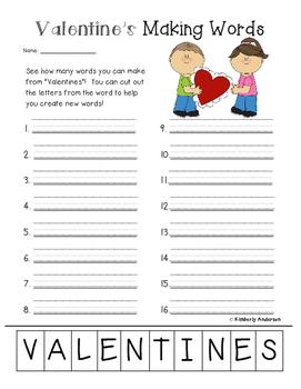 Freebie: Valentine's Day Making Words Activity