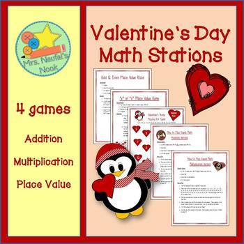 Valentine's Day Math Stations - Addition, Multiplication,