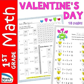 February Valentine's Day Math First Grade Just Print It (C