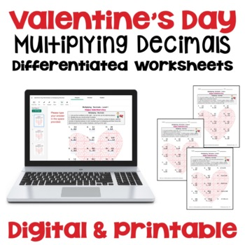 Valentine's Day Multiplying Decimals Worksheets (3 Levels)