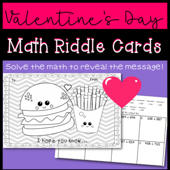 Valentines Day Math Riddle Cards
