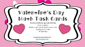FREE Valentine's Day Math Task Cards