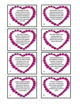 Valentine's Day Math Word Problems Game - Hand Over the Heart