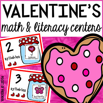 Valentine's Day Math and Literacy Centers for Preschool, P