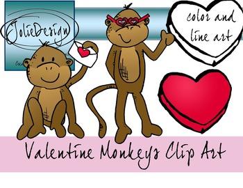 Valentines Day Monkey Clip Art