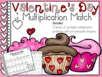 Valentine's Day Multiplication Match