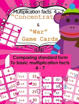 Valentine's Day Multiplication facts (4 - 7)  Concentratio