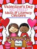 Valentine's Day No Prep Math & Literacy Centers