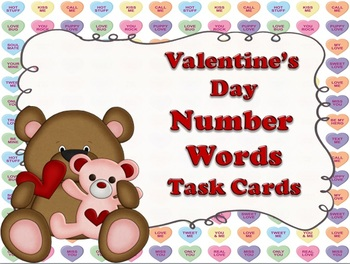 NUMBERS: Valentine's Day Number Word Task Cards