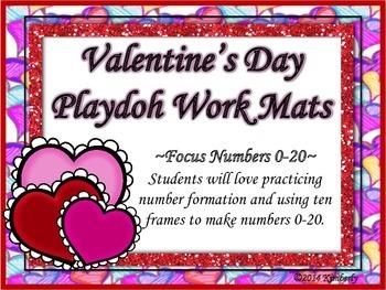Valentine's Day Number/Ten Frame Playdoh Work Mats (Focus