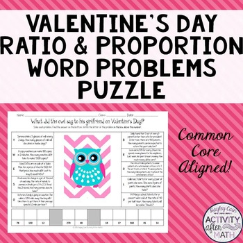 Valentine's Day Owl Ratio and Proportion Word Problems Puzzle