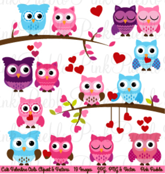 Valentine's Day Owls Clipart Clip Art