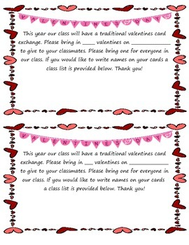 Valentines Day Parent Letter