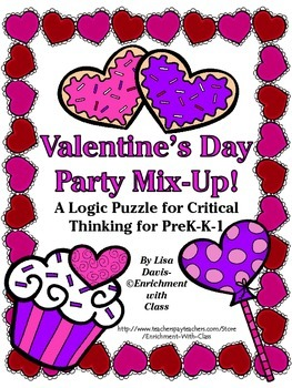 Valentine's Day Party Mix-Up! Logic Puzzle for PreK-K-1