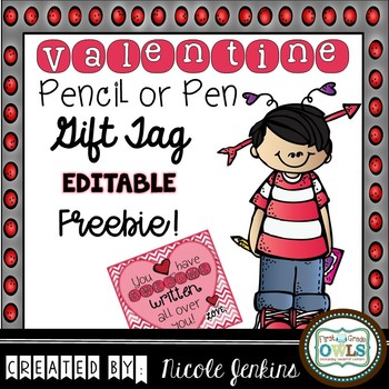 Valentine's Day Pencil or Pen Tags