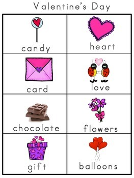 Valentine's Day Picture Word Bank and Picture Cards