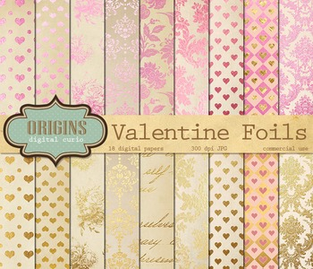 Valentines Day Pink and gold foil digital paper background
