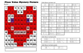 Valentines Day Place Value Math Mystery Picture - Happy He