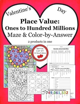 Valentine's Day Place Value Ones to Hundred Millions Maze