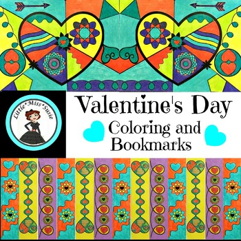 Valentines Day Pop Art Coloring and Bookmarks