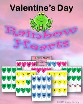 Valentine's Day Rainbow Hearts Letters & Matching Game