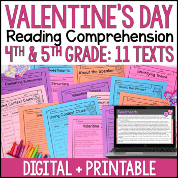 valentine 39 s day reading comprehension passages by jennifer findley teachers pay teachers. Black Bedroom Furniture Sets. Home Design Ideas