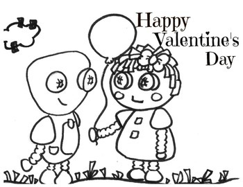 Valentines Day Robot Friends Coloring Page