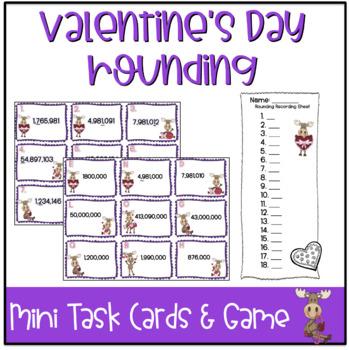 Valentine's Day Mini Task Cards: Rounding Game