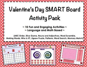 Valentine's Day SMART Board Activity Pack ~ 10 Activities,
