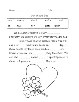 Valentine's Day Sight Word Cloze Paragraph