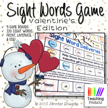 Valentine's Day Sight Words Game Boards