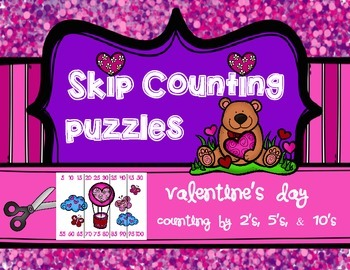 Valentine's Day Skip Counting Puzzles: Counting by 2's, 5'