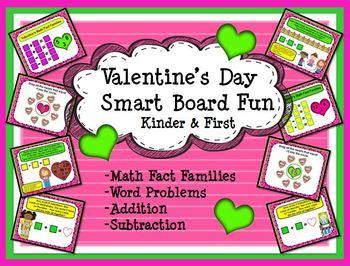 Valentine's Day Smart Board Fun Math:  Kindergarten and Fi