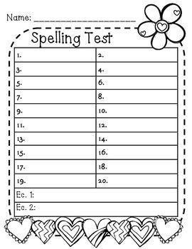 Valentine's Day Spelling Test