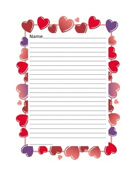 Valentine's Day Stationary, Writing Paper