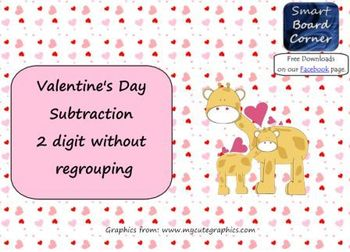 Valentine's Day Subtraction 2 digit without regrouping Sma