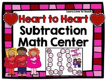 Valentine's Day Subtraction Math Game