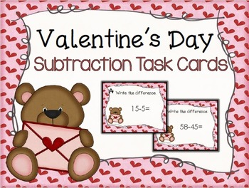 Valentine's Day Subtraction Task Cards